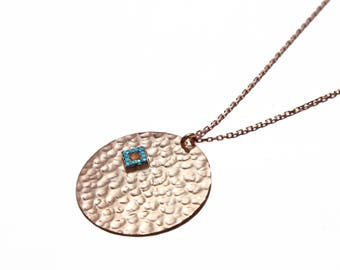 Handmade solid sterling silver 'Farah' hammered pendant necklace in rose gold plate.