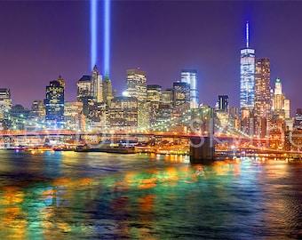 New York City NYC Skyline NIGHT Brooklyn Bridge Tribute Lights Lower Manhattan Panoramic Photo Poster Cityscape