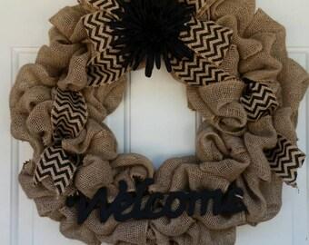 Burlap Wreath / Welcome Wreath / Chevron Wreath / Fall Wreath / Autumn Wreath / Everyday Wreath / Front Door Wreath / Black Chevron Wreath