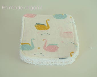 Washable fabric origami and ivory Terry cloth.