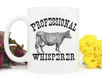 Cow Mug,Cow Whisperer,Farm Mug,4H Mug,Cattle Farmer,4H Cow,Cattle,rustic design,Cow coffee mug,homestead mug,MUG-332