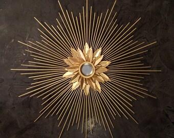 Gold Starburst Mirror, Sunburst Mirror, flower mirror, 22inches, retro mirror,  lotus mirror, sunflower mirror, wall sculpture, nursery