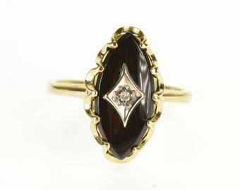 10k Black Onyx Marquise Diamond Overlay Scalloped Ring Gold