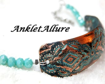 COPPER Anklet BOHO Ankle Bracelet CUFF Anklets for Women