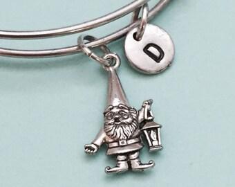 Gnome bangle, gnome charm bracelet, expandable bangle, charm bangle, personalized bracelet, initial bracelet, monogram