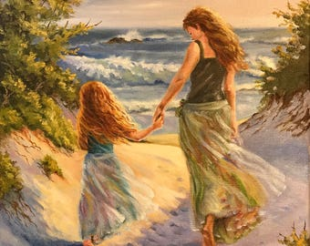 AT THE BEACH Mother and daughter, Beach scene, Ocean