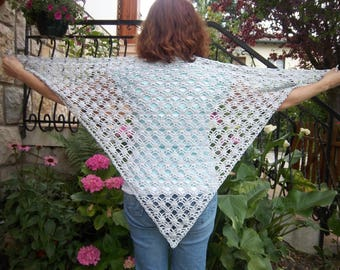 Shawl is hand crocheted in cotton and viscose #Collection was