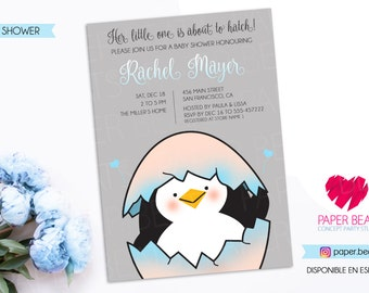 Its about to Hatch Invitation - Penguin Baby Shower Invitation - Digital Baby Shower Invitation - Double Sided Invitation - Penguin Theme