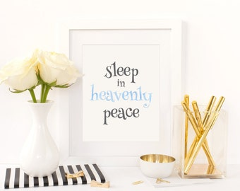 Sleep in heavenly peace, Nursery Art, Digital Download, Nursery Decor, Printable Art, Baby Girl Decor, Baby Boy Decor, Gender Neutral Decor
