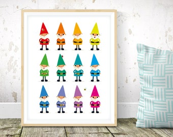 Nursery print -kids illustration, kids wall art, gnomes print, rainbow gnomes, rainbow nursery art, cute garden gnomes, gender neutral