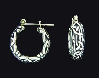H360-S Celtic Hoop Earrings Sterling Silver