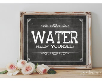 Instant 'WATER Help Yourself' Printable Sign Chalkboard Printable Party Decor Drink Table Bridal Shower or Event Size Options