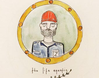 Life aquatic wes anderson illustration print