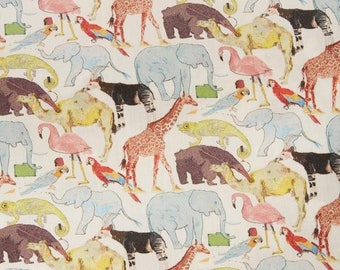 Queue for the Zoo - Liberty of London Fabric - Tana Lawn Cotton