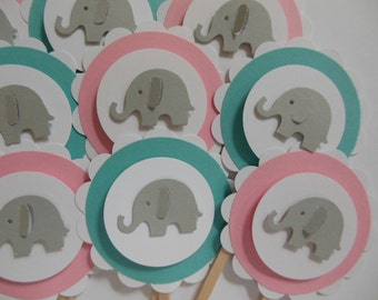 Elephant Cupcake Toppers - Pink, Teal and Gray - Girl Baby Shower Decorations - Girl Birthday Party Decorations - Set of 12