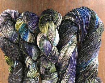 Juniper OOAK: BFL tweed sock yarn