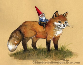 Cute Fox and Gnome Print