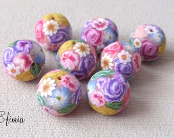 set of 6 textured springtime colors of polymer clay beads