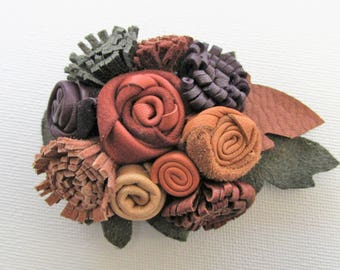 Leather corsage, Autumn colours brooch, leather flower pin, mix of brown, tan, green, lapel pin, boutonniere, magnetic leather flower, clips