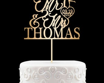 Customized Wedding Cake Topper, Personalized Cake Topper for Wedding, Custom Wedding Cake Topper, Mr and Mrs Cake Topper, Silver cake 17