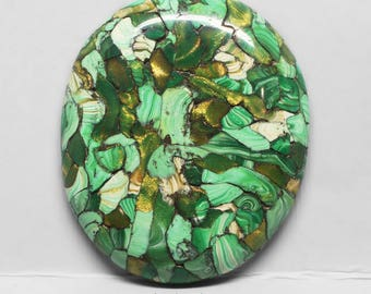"""Green Oval Polymer Clay Cabochon, Faux """"Mosaic Stone"""" - Designer Cabochon"""