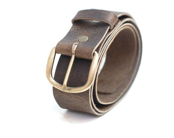 Simple Brown Leather Belt - Distressed Leather Belt with Brass Buckle - Plain Leather Belt - Mens Belts