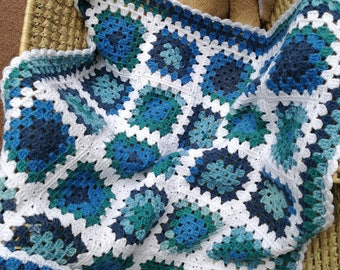 Baby Blanket, Baby's First Blanket, Crocheted Granny Squares, OOAK, Blues with White, Handmade Uk, Ready to Ship