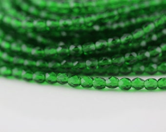 50 Green Emerald, 4mm Czech fire polished glass faceted round beads (FP-4M-28)