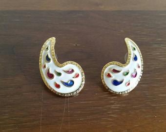 Vintage 80s Earrings - White Enamel Gold Rainbow Tear Drop Stud Earrings - Rad Big 80s Oversize Statement Earrings - Retro Costume Jewelry