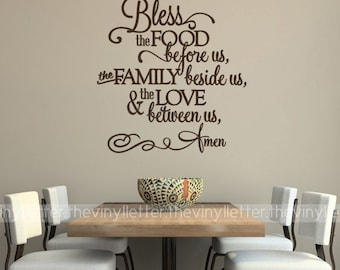 Bless the Food Before Us, Family Beside Us, Love Between Us Fancy Vinyl Wall Kitchen Decal Sticker