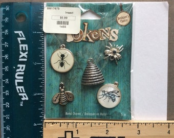 Blue Moon Tokens Insects  silver  toned metal charms