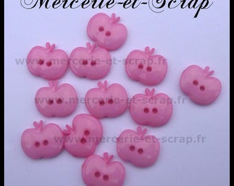 6 buttons 15mm pink Apple fruit plastic 2 hole