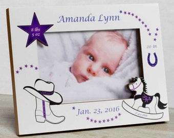 Personalized Baby Picture Frame, Baby Girl Picture Frame, New Baby Girl Frame, Baby Girl Frame, Baby Girl Birth Frame, Baby Cowgirl Frame