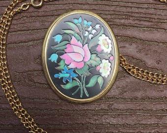 Vintage Signed Avon Flower Pendant Necklace Pin Brooch