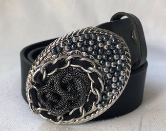 Black and Silver Chain Beaded Belt Buckle