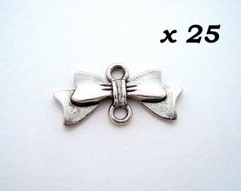 silver ribbon bow 25 connectors antiqued 10 x 20 mm - L25630