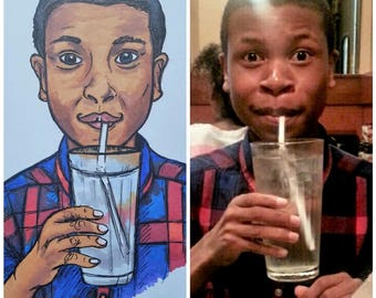 Custom Portrait Illustration From Photo - Art Commission. Cartoon Portrait, Caricature Drawing, Portrait Gift for friend or family member