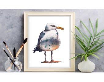 Watercolor SEAGULL PRINT - 8x10 inches - bird lover gift - beach house decor