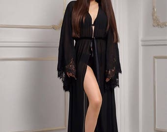Crepe Kimono, Chiffon Kimono, Chiffon Robe, Black Kimono Robe, Long Robe, Transparent Robe, Black Robe Women, Black Long Robe, Bride Robe