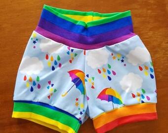 Rainbow umbrella shorts
