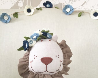 Felt Flower Garland | Blue and Cream Felt Flower Garland | Nursery Decor | Mantel Decor | Birthday Decor | First Birthday Highchair Decor