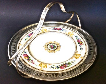 Antique Wedgwood Columbia W595 Porcelain Plate Sterling Silver Handle and Reticulated Rim Yellow Griffons, Floral On Ivory