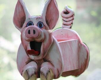 Pinky Pig Planter, Birdhouse or Feeder, pig gift, animal lover gift