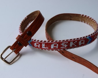 vintage Alaska beaded and tooled leather belt souvenir from alaska vintage belt vintage leather kids belt