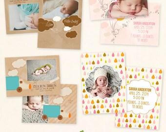 INSTANT DOWNLOAD 5x7 Birth Announcement Card Bundle Photoshop Templates - CA495B