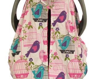 Fitted Bird Song Car Seat Canopy with Fuchsia Minky Interior