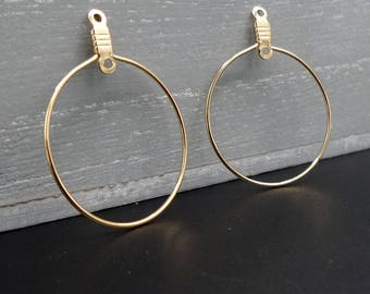 2 brackets for round Stud Earrings gold plated copper 3.2 x 2.5 cm