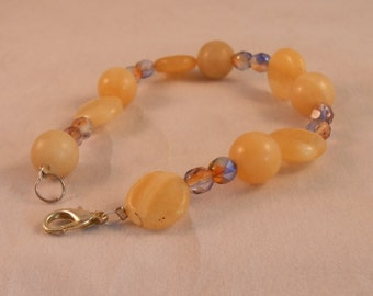 Yellow and purple crystal beaded bracelet,lilac and yellow beaded bracelet