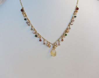 Citrine Pendant, Mixed Colored Tourmaline, Pearl Handmade Necklace with 14K Gold Filled Chain