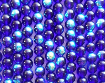 Lot of 50 6mm Czech glass druks, Cobalt Blue AB smooth round druk beads, C3725